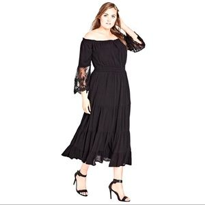 City Chic Black Maxi Ethereal Off Shoulder Dress